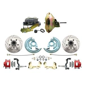 """67-72 A-body Front Power Disc Brake 11"""" Drilled Slotted Red Caliper Stock Height"""