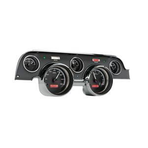 Dakota Digital 67 Ford Mustang VHX Analog Gauges Black Alloy Red w/ Carrier