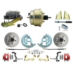 """64-72 A-body Front Power Disc Brake 8"""" Standard Rotor Red Caliper No Drop"""