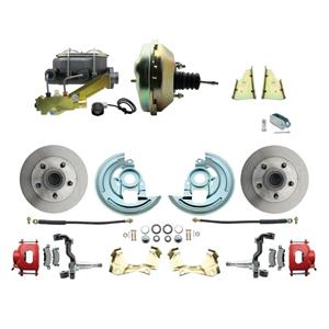 """64-72 A-body Front Power Disc Brake 9"""" Standard Rotor Red Caliper No Drop"""