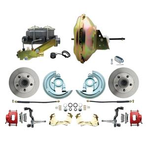 """67-72 A-body Front Power Disc Brake 11"""" Standard Rotor Red Caliper No Drop"""