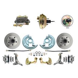 "62-67 Nova Power Front Disc Brake Kit 9"" Booster Standard Rotor Raw Caliper"