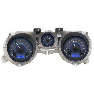 Dakota Digital 71-73 Ford Mustang Analog Gauges Carbon Blue VHX-71F-MUS-C-B
