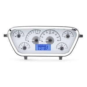 1953-55 Ford F100 VHX System, Satin Alloy Style Face, Blue Display