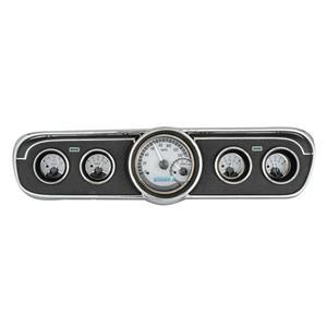 Dakota Digital 65-66 Ford Mustang VHX Analog Gauges Silver White w/ Carrier
