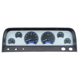 1964-66 Chevy Truck VHX System, Silver Face - Blue Display