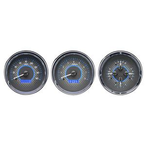 Triple Round Universal VHX System, Carbon Fiber Style Face, Blue Display