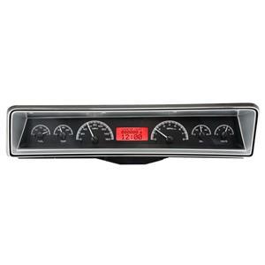 Dakota Digital 66 Chevy Nova VHX Analog Gauges Black Alloy Red w/ Carrier
