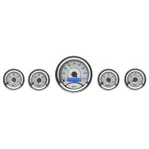 Dakota Digital Round Universal Analog Gauges Silver Alloy Blue VHX-1050-S-B