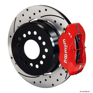 """Wilwood Rear Disc Brake Kit Big Ford New Style 9"""" w/ 2.5"""" Offset Drill Stagg Red"""