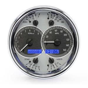 Dakota Digital Single Round Analog Gauges Silver Alloy Blue VHX-1019-S-B