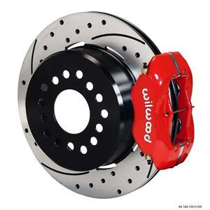 "Wilwood Rear Disc Brake Kit BOP Rear End w/ 2.75"" Offset Drilled Red Caliper"
