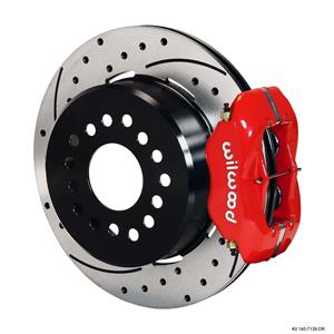"""Wilwood Rear Disc Brake Kit Big Ford 9"""" w/ 2.36 Offset 12.19"""" Drilled Rotor Red"""