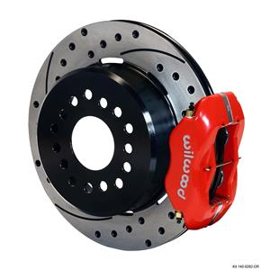 "Wilwood Rear Disc Brake Kit Small Ford 9"" w/ 2.5"" Offset 12.19"" Drilled Red"