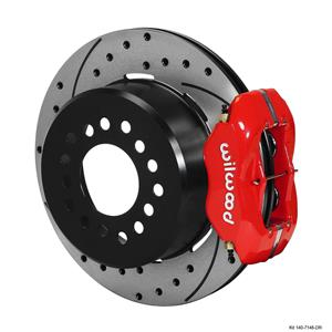 "Wilwood Rear Disc Brake Kit Ford 8.8"" w/ 2.5 Offset 12.19"" Drilled Red Caliper"