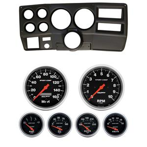 "73-83 GM Truck Black Dash Carrier w/ Auto Meter 5"" Sport Comp Electric Gauges"
