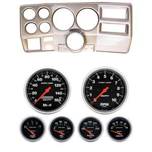 "73-83 GM Truck Silver Dash Carrier w/ Auto Meter 5"" Sport Comp Electric Gauges"