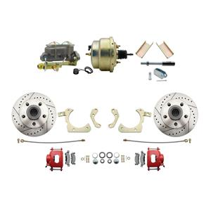 """MBM Front Disc Brake Power Kit 8"""" Booster Drilled Slotted DBK5558LXR-GMFS1-204"""