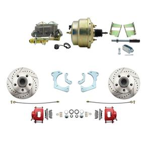 59-64 Chevy Full Size Power Front Disc Brake Kit Drilled Slotted Red Caliper