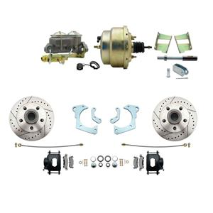 59-64 Chevy Full Size Power Front Disc Brake Kit Drilled Slotted Black Caliper