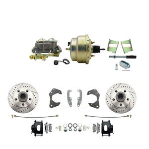 65-68 Chevy Full Size Power Front Disc Brake Kit Drilled Slotted Black Caliper