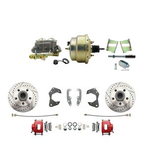 65-68 Chevy Full Size Power Front Disc Brake Kit Drilled Slotted Red Caliper