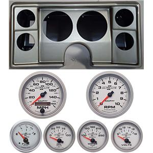 78-81 Chevy G Body Silver Dash Carrier w/Auto Meter Ultra Lite II Gauges