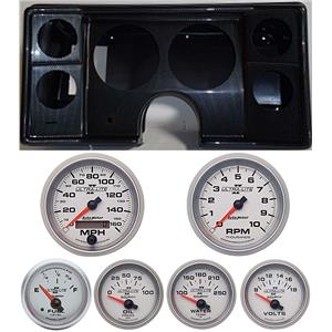 78-81 Chevy G Body Carbon Dash Carrier w/Auto Meter Ultra Lite II Gauges