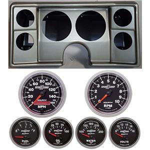 82-88 Chevy G Body Silver Dash Carrier w/Auto Meter Sport Comp II Gauges