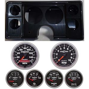 82-88 Chevy G Body Carbon Dash Carrier w/Auto Meter Sport Comp II Gauges