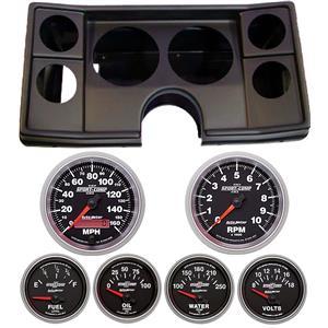 78-81 Chevy G Body Black Dash Carrier w/ Auto Meter Sport Comp II Gauges