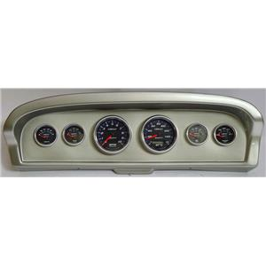 61-66 Ford Truck Silver Dash Carrier w/Auto Meter Cobalt Gauges