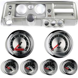 """68 Chevelle Silver Dash Carrier w/ Auto Meter 5"""" American Muscle Gauges w/ Astro"""