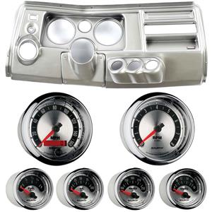 """69 Chevelle Silver Dash Carrier w/ Auto Meter 5"""" American Muscle Gauges w/ Astro"""