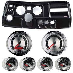 """69 Chevelle Black Dash Carrier w/ Auto Meter 5"""" American Muscle Gauges w/ Astro"""