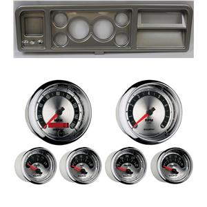 """73-79 Ford Truck Silver Dash Carrier w/ Auto Meter 3-3/8"""" American Muscle Gauges"""