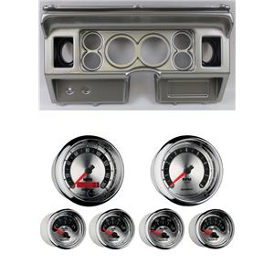 """80-86 Ford Truck Silver Dash Carrier w/ Auto Meter 3-3/8"""" American Muscle Gauges"""