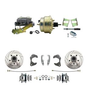 65-68 Chevy Full Size Power Front Disc Brake Kit Drilled Slotted Raw Caliper