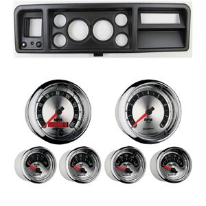 """73-79 Ford Truck Black Dash Carrier w/ Auto Meter 3-3/8"""" American Muscle Gauges"""