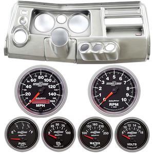 "69 Chevelle Silver Dash Carrier w/ Auto Meter 5"" Sport Comp II Gauges w/ Astro"