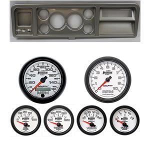 "73-79 Ford Truck Silver Dash Carrier w/ Auto Meter 3-3/8"" Phantom II Gauges"