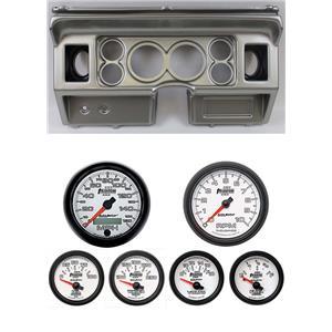 "80-86 Ford Truck Silver Dash Carrier w/ Auto Meter 3-3/8"" Phantom II Gauges"