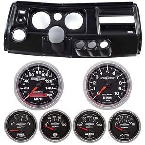 "69 Chevelle Black Dash Carrier w/ Auto Meter 5"" Sport Comp II Gauges w/ Astro"