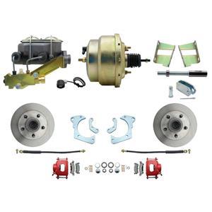 59-64 Chevy Full Size Power Front Disc Brake Kit Standard Rotor Red Caliper