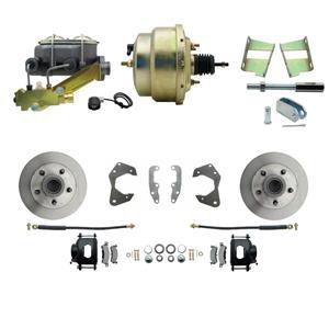 65-68 Chevy Full Size Power Front Disc Brake Kit Standard Rotor Black Caliper