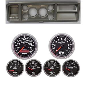 """73-79 Ford Truck Silver Dash Carrier w/ Auto Meter 3-3/8"""" Sport Comp II Gauges"""