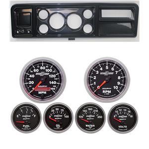 "73-79 Ford Truck Carbon Dash Carrier w/ Auto Meter 3-3/8"" Sport Comp II Gauges"