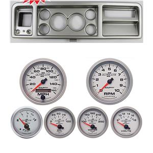 """73-79 Ford Truck Silver Dash Carrier w/ Auto Meter 3-3/8"""" Ultra-Lite II Gauges"""