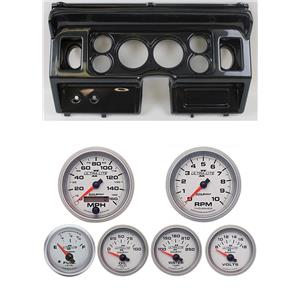 """80-86 Ford Truck Carbon Dash Carrier w/ Auto Meter 3-3/8"""" Ultra-Lite II Gauges"""
