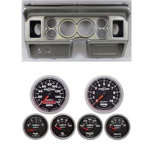 """80-86 Ford Truck Silver Dash Carrier w/ Auto Meter 3-3/8"""" Sport Comp II Gauges"""